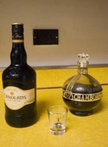 Irish cream to the left of me, Chambord to the right, here I am stuck in the middle with you.
